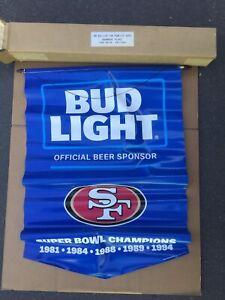 NEW - 2016 BUD LIGHT SAN FRANCISCO 49ERS SUPER BOWL CHAMPIONS BANNER FLAG