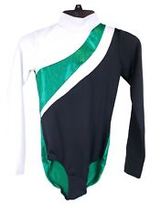 Black/White/Green Shiny Leo Dance Cheer Gymnastics Costume - Women's Child 14