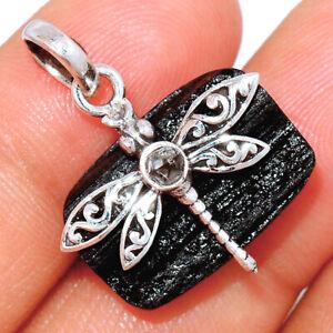 Dragonfly - Black Tourmaline & Herkimer Diamond 925 Silver Pendant BP62477