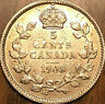 1908 CANADA SILVER 5 CENTS COIN - Small 8 - Excellent example!