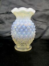 "Fenton Art Glass Moonstone French White Blue Opalescent Hobnail 3 1/2"" Vase"