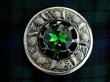 """NEW Large Scottish Green Stone 3"""" Brooch Antique Finish Kilt Fly/Piper Plaid"""