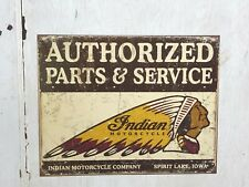 """Indian Motorcycle Authorized Parts & Service.Spirit Lake"" 12 x 16 Metal Sign"