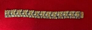 Men's Large 14 Yellow Gold Plated Nugget Bracelet 8in Long 1in wide