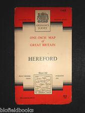"""Vintage Ordnance Survey 1"""" Map - Hereford - 1960 - Sheet 142 - Herefordshire"""