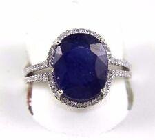 Fine Oval Cut Blue Sapphire Bridge Ring w/Diamond Halo 14k White Gold 7.19Ct