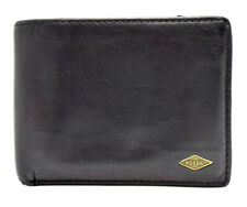 Fossil Mens Leather Bifold Wallet Black Brown