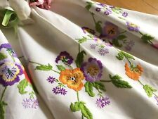 More details for exquisite vintage hand embroidered linen tablecloth raised floral violas/pansies