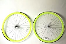 700C Wheelset 43mm Neon Yellow Rims + MACHINED Brake Strip Fixie Freewheel