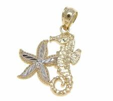 SOLID 14K YELLOW WHITE GOLD HAWAIIAN SEAHORSE STARFISH CHARM PENDENT DIAMOND CUT