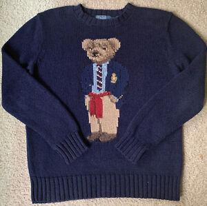Vintage RARE Polo Ralph Lauren Executive Teddy Bear Sweater Navy size S