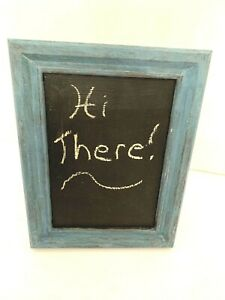 """Small Blue Frame Tabletop or Hanging Chalkboard 6 3/8"""" x 8 1/4"""" Rustic Look"""