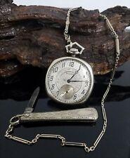 Antique 14 Karat White Gold Waltham Pocket Watch, 14K Fob Chain and Knife. #V16