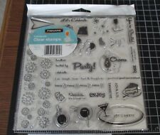 FISKARS CLEAR STAMPS -CELEBRATE - LET'S PARTY~36 STAMPS