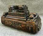 Antique french 19th century snuff box tobacco box woodwork lions signed Gerard