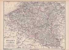 BELGIEN Luxemburg Flandern LANDKARTE von 1874 Belgium Ardennen