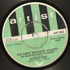 "GERRY MULLIGAN QUARTET MY HEART BELONGS TO DADDY EP SWEDISH 45 RPM 7"" 1953 JAZZ"