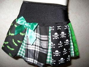 Bats Skulls tartan Baby Girls Black,white,Green Alternative Skirt Shower Gothic
