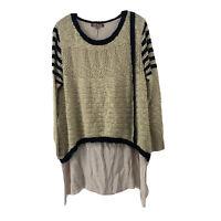 Layered Sweater Tunic Womens Size M Cream Striped Blue Long Sleeve Round Neck