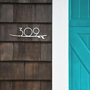 Custom Surfboard Tropical Beach House Number Metal Address Sign Plaque