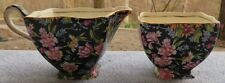 Royal Winton Nantwich Black Floral Chintz Pink Carnations Creamer and Sugar Bowl