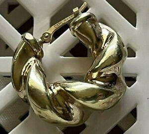 14k Gold Carla Pierced Chunky Puffy Huggie Hoop Hollow Earring