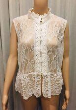 ASOS White Lace Sleeveless Women's Top Blouse - Size 18
