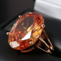 3.5 Ct Oval Orange Citrine Ring Women Jewelry 14K Rose Gold Plated Free Ship