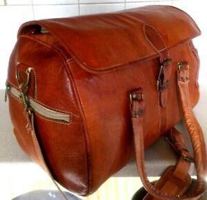 Handmade Tan LEATHER Travel/Sports bag cross body/shoulder bag (L)