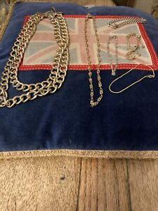 Two Chain Necklaces & 4 Bracelets