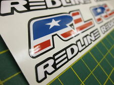 14 Redline BMX Stickers in White with a Black outline.