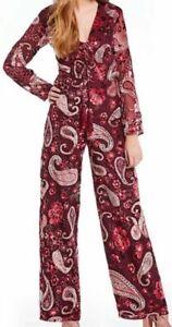 ANTHROPOLOGIE Chelsea & Violet Paisley Burnout Velvet Jumpsuit XS,S,M NWT$168