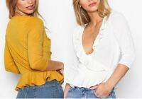 NEW LADIES WOMEN Frill Detail Wrapped design Top RRP £ 15.00