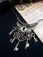 Bronze Keys  Filigree Heart Necklace Antique Steampunk Vintage Key Fantasy Love