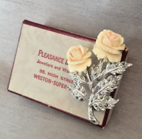 Vintage Carved Rose & Marcasite Silver Tone Brooch and Original Gift Box