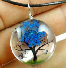 Fashion Crystal Glass Dried Flower Lucky Tree Round beads Pendant necklace 04Z2