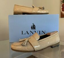 Lanvin Beige Patent Leather Loafers Men's Size 10