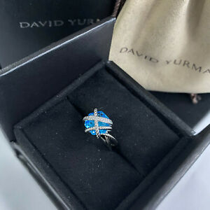 David Yurman Cable Wrap Ring with Blue Topaz 10mm Size 7
