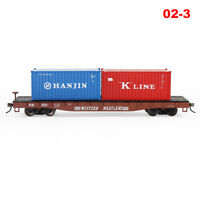 HO Scale WESTERN MARYLAND 52' Flat Car 20ft Shipping Container Freight Car Lot