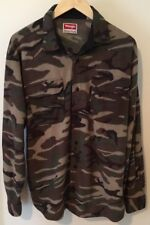 CAMO FLEECE Wrangler Shirt Jacket Coat Button Outdoor Camping Hike L