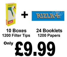 1200 Rizla Blue Cigarette Rolling Papers and 1200 Swan Extra Slim Filter Tips