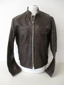 "Vintage Leather Bomber Jacket, Dark Brown Leather Biker Jacket, Medium, 42"""