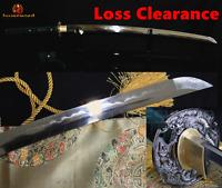 FOLDED STEEL CLAY TEMPERED BLADE HANDMADE JAPANESE SAMURAI SWORD SHARP KATANA
