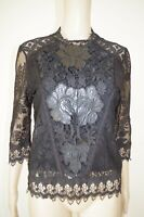 €120 DESIGUAL sz L / USA M BLOUSE TOP 3/4 SLEEVES GUIPURE FLORAL APPLICATION NEW