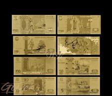 Russland Rubel Gold Banknote Set Russia Geldschein Schein Note Goldfolie Karat