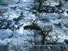 1 Yard Cotton Fabric - Timeless Treasures Wicked Halloween Graveyard Cemetery