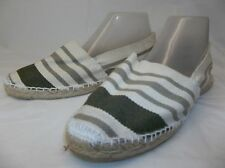 Artesania alpargata clasica Womens US 9 Beige Olive Striped Canvas Shoe NEW