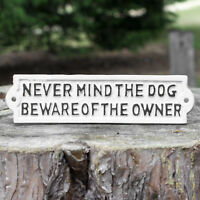 Vintage Beware of Owner Dog Wall Sign Outdoor Garden Garage Funny Plaque Home