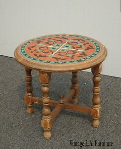 Vintage Monterey Style Orange & Blue Tiled Side Table ~ End Table French Country
