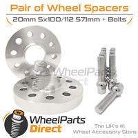 Wheel Spacers (2) & Bolts 20mm for Audi TT Mk1 [8N] 98-06 On Original Wheels